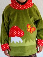 Hoodie Kapuzenpulli Nicky grün - Pilz und Schmetterling - designed by Lumpenprinzessin