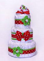 Памперс-торт с яркими пинетками. Красный, зелёный, яркий, летний торт.