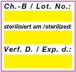 Vordrucketikett zur Dokumentation Sterilisation