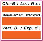 Vordrucketikett für Sterilisation (orange)