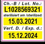 Vordrucketikett mit Geräteandruck Chargennummer und Datum der Sterilisation