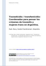 Travesticidio transfemicidio. B. Radi, A. Sardá Chindiramani