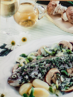 Forelle mit Champignons