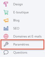 A quoi sert le menu Paramètres de mon site Jimdo?