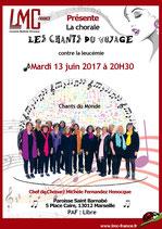 Chorale les chants du voyage soutient LMC France Michèle Fernandez Henocque