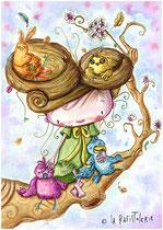 Illustration de la petite fille aux oiseaux de Nac artiste de La Rafistolerie via le site de Cloé Perrotin