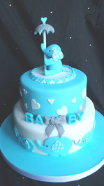 Boys baby shower cake with elephant cake topper