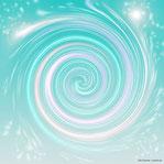 Spirale in Türkis und Weiß