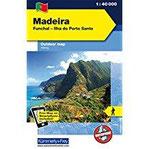 Madeira Outdoorkarte 1  40.000 Funchal-Porto Santo. Wanderwege, Radwanderwege, Nordic Walking Funchal - Ilha do Porto Santo. Wanderkarte ... International), wasser-und reissfest