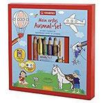 Ausmal-Set für Kinder - STABILO Mein erstes Ausmal-Set - inklusive 6er Pack woody 3 in 1 und Spitzer - in Geschenkverpackung