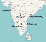 Landkarte von Südindien