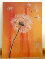 Postkarte mit Druck von Malerei, Motiv Pusteblume, silvanillion