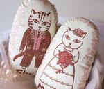 猫夫婦ウェルカムドール「バラのブーケ」