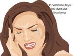 gezeichnete Frau hat Schmerzen in der linken Wange durch einen verspannten Kiefer, Sie hält beide Hände ans Gesicht und guckt schmerzverzehrt., Stress und Entspannung, EMDR, Trauma-Therapie, PTBS, Rosacea, Neurodermitis, Psoriasis, Psychotherapie