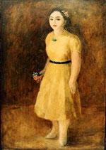 戦前描かれた黄色い服の婦人立像