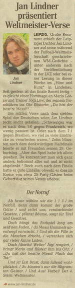 WM-Sonett von Jan Lindner zur Fußball Weltmeisterschaft 2014 in der Leipziger Volkszeitung