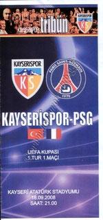2008-09-18  Kayserispor-PSG (1er Tour Aller C3, Programme officiel)