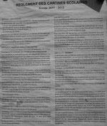 Règlement des cantines scolaires 2011-2012 à Saint Maur