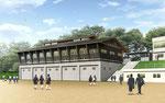 岡山県北に建設の焼杉板壁の中学校の外観パ-ス