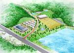 広島県北に整備の公園の鳥瞰パース