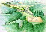 兵庫県の史跡公園の手描き鳥瞰パ-ス