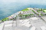 香川県に建設の水族館の鳥瞰パ-ス