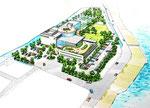 兵庫県に建設のコミュニティーセンターの鳥瞰パ-ス