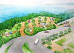 四国のオートキャンプ場整備の鳥瞰パース