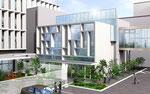 岡山県北に建設の病院のエントランス部のパース