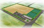 岡山市に建設するテニス場付きグランドの鳥瞰パース
