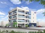 岡山に建設のオフィスビルの外観パ-ス