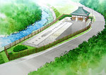 岡山の水処理施設の手描きパース3