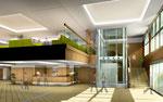 岡山に建設の病院のロビー部の内観パース