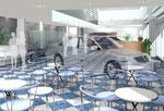 岡山の自動車ショールームの内観パース