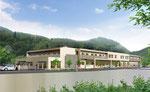 岡山県北に建設の高齢者施設の外観パ-ス