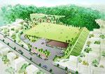 岡山県に整備される芝生広場の鳥瞰パ-ス