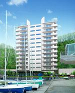 岡山県に建設の海辺のマンションの外観パース