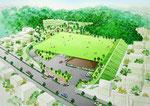 島根県の防災公園の鳥瞰パース