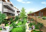 岡山に建設のタウンハウス半鳥瞰図