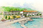 岡山県南に建設の海辺の小学校の手描きパース