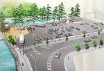 松江市の観光地の駐車場整備の土木景観パース