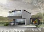 岡山に建築のコンクリート住宅の鳥瞰パース