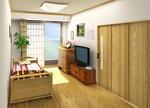 東京の高齢者住宅の個室居室内観パース