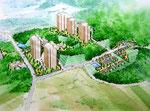 広島の開発で高層住宅建設の手描きパース