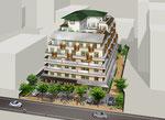 東京都に建設の高齢者施設の鳥瞰パース