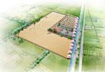 岡山の後楽園を巡る遊歩道の手描きパ-ス