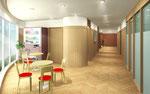 岡山に建設の病院待合室内観パース 2015年