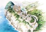 石川の海辺の崖の上に建設の鳥瞰手描きパース