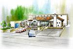 国道沿いに建設のイタリアンレストランの水彩画の外観パ-ス