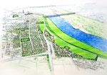 スーパー堤防整備計画の鳥瞰パース